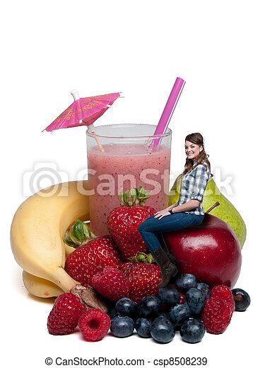Woman with Fruit Smoothie - csp8508239