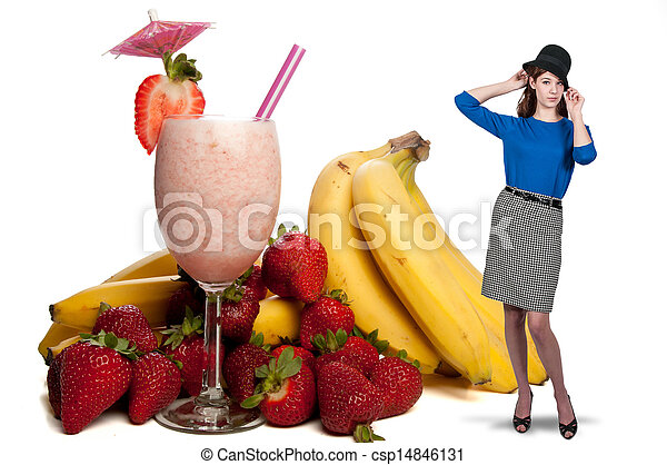 Woman with Fruit Smoothie - csp14846131