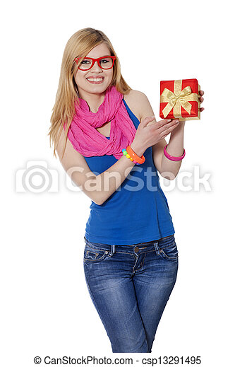 woman with gift at white background - csp13291495