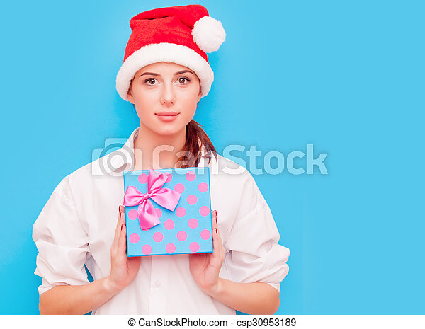 woman with gift box - csp30953189