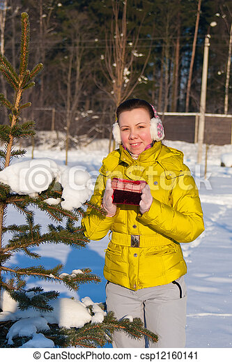woman with gift box - csp12160141