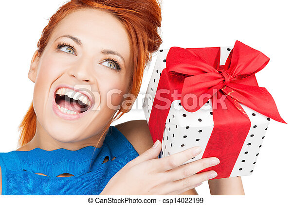 woman with gift box - csp14022199