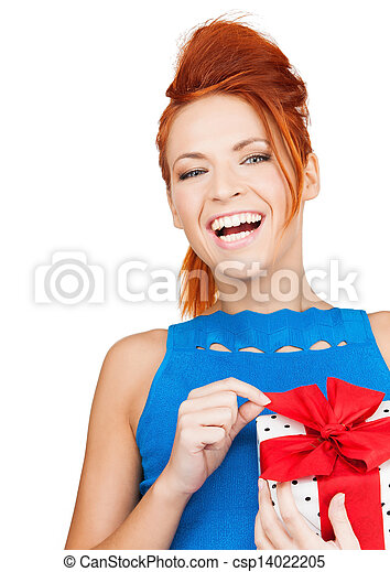 woman with gift box - csp14022205