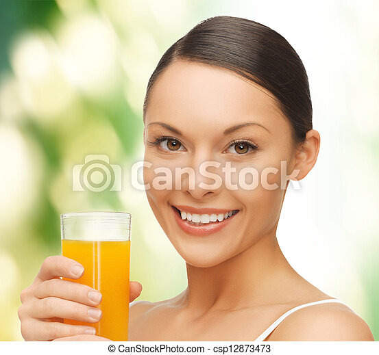 woman with glass of juice - csp12873473