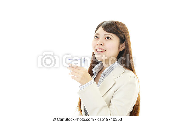 woman with glass of water - csp19740353
