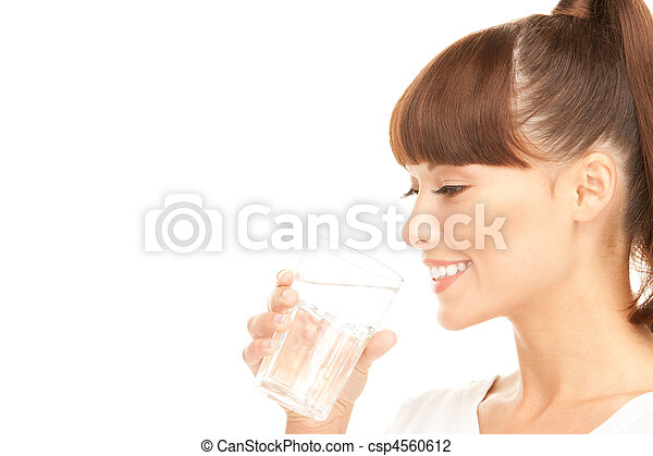 woman with glass of water - csp4560612