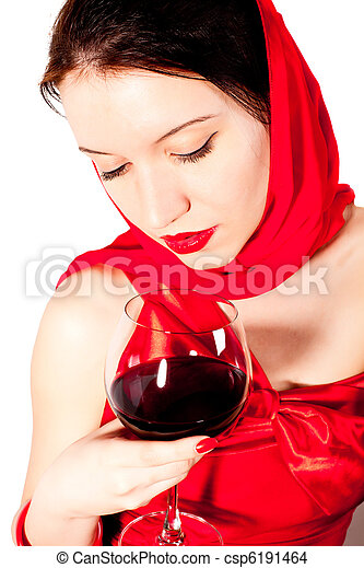 woman with glass red wine - csp6191464