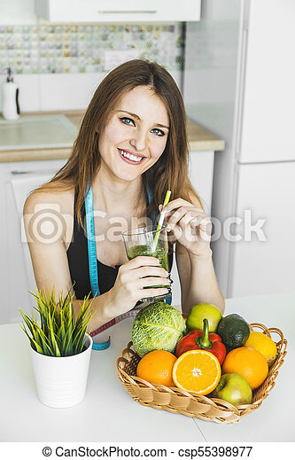 Woman with Green Smoothie - csp55398977