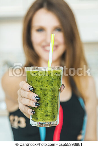 Woman with Green Smoothie - csp55398981