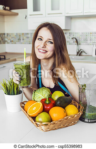 Woman with Green Smoothie - csp55398983