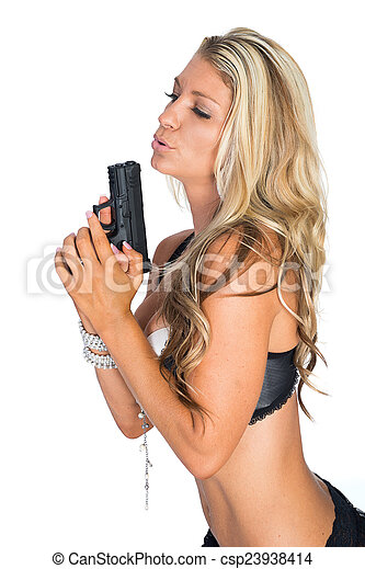 Woman with Gun - csp23938414