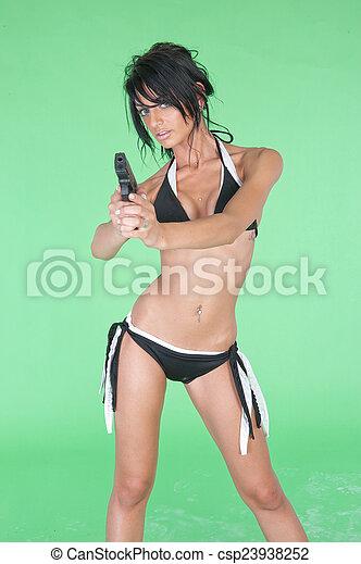 Woman with Gun - csp23938252
