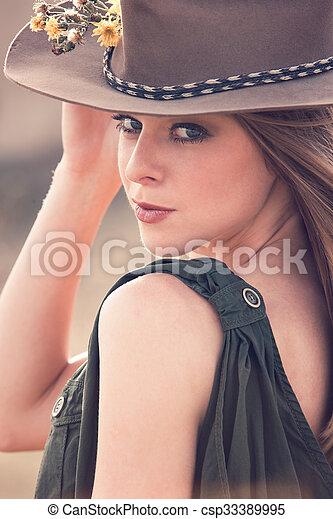 woman with hat portrait - csp33389995