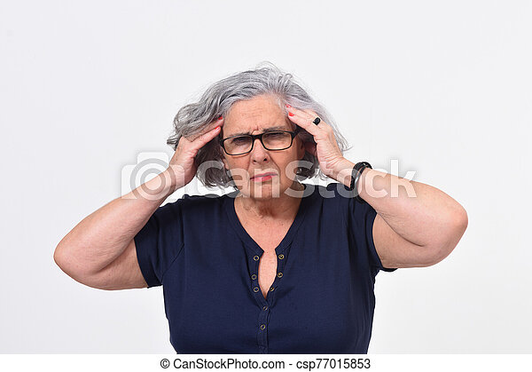 woman with headache on white background - csp77015853