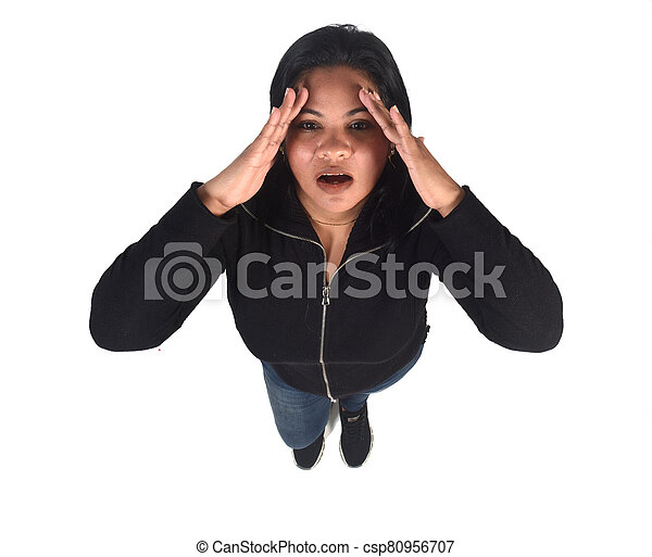 woman with headache on white background - csp80956707