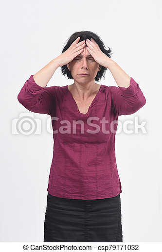 woman with headache on white background - csp79171032