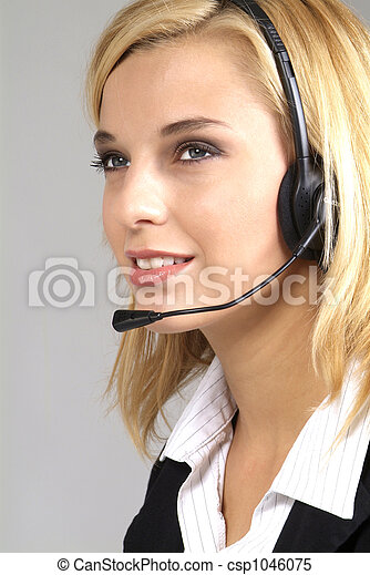 woman with headset - csp1046075