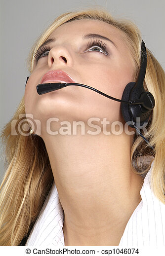 woman with headset - csp1046074