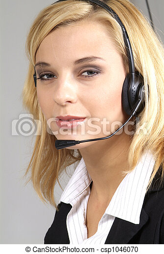 woman with headset - csp1046070