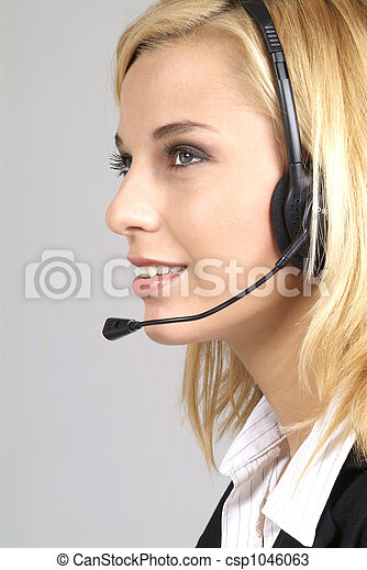 woman with headset - csp1046063