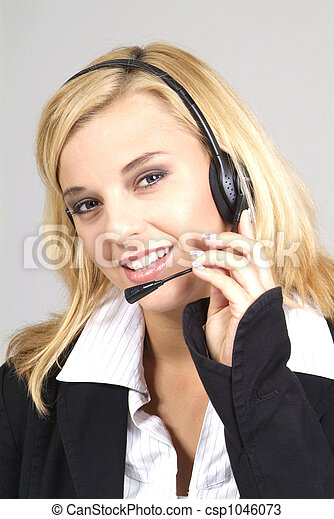 woman with headset - csp1046073