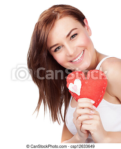 Woman with heart soft toy - csp12633649