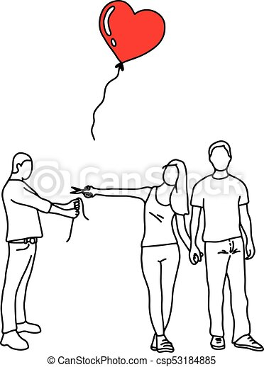 woman with her new lover cutting red heart balloon of a man vector  illustration outline sketch hand drawn with black lines isolated on white