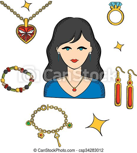Woman with jewels and gold accessories - csp34283012