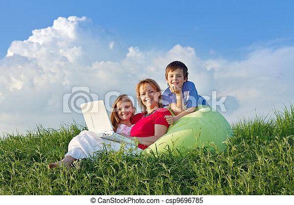 Woman with kids hanging out relaxing - csp9696785