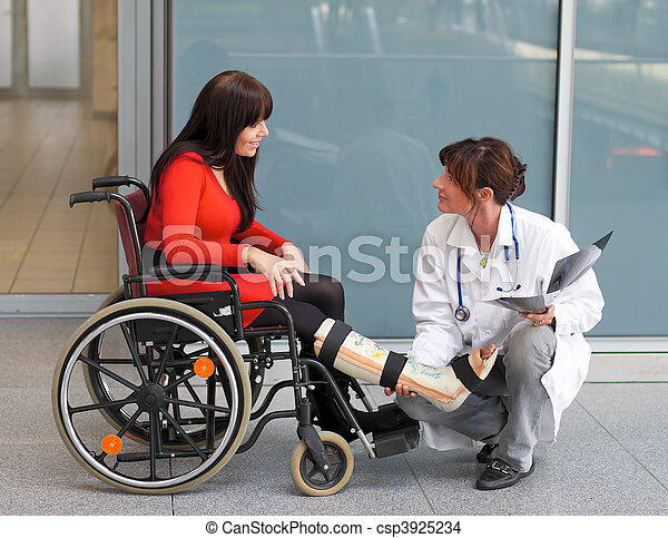 Woman with leg in plaster, doctor and chair - csp3925234
