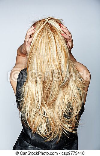 woman with long blond hair - csp9773418
