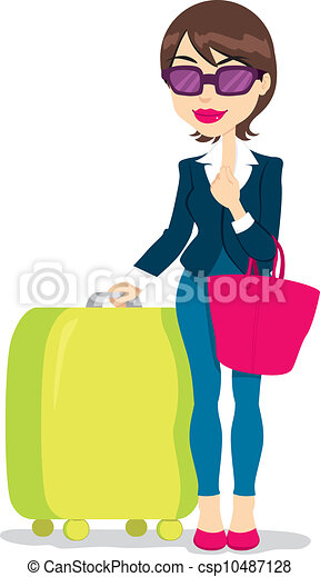 Woman With Luggage - csp10487128