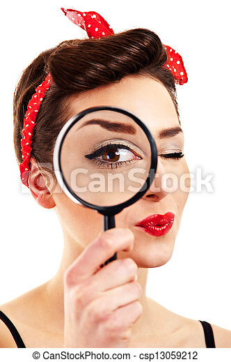 Woman with magnifier on white background - csp13059212
