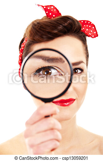 Woman with magnifier on white background - csp13059201