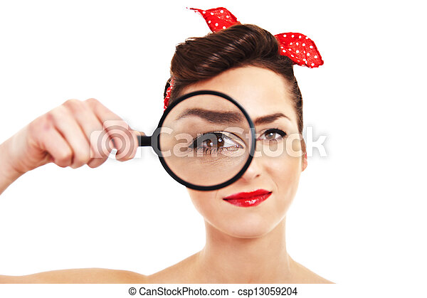 Woman with magnifier on white background - csp13059204