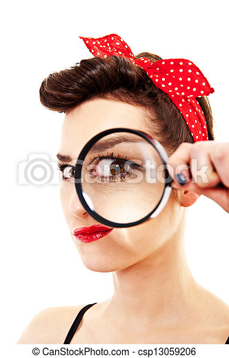 Woman with magnifier on white background - csp13059206