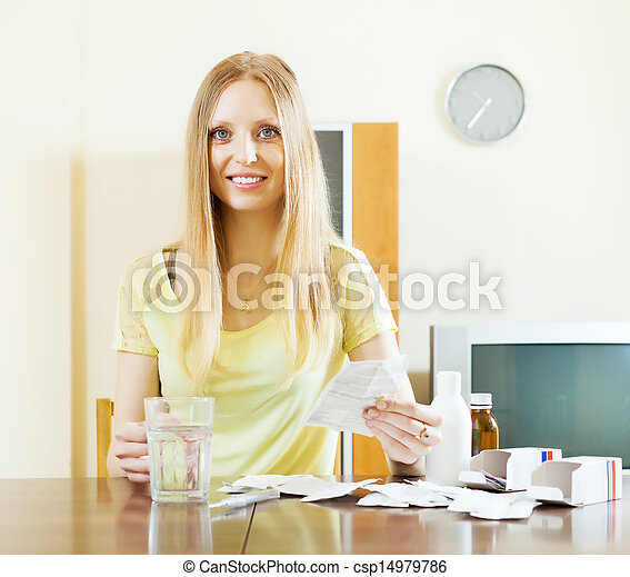 woman with medications at home - csp14979786
