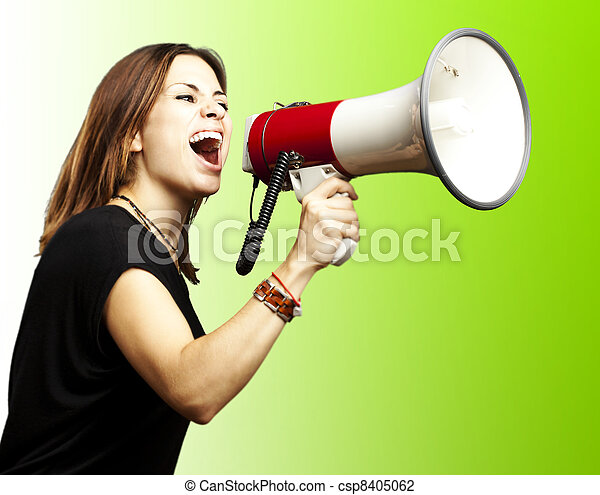 woman with megaphone - csp8405062