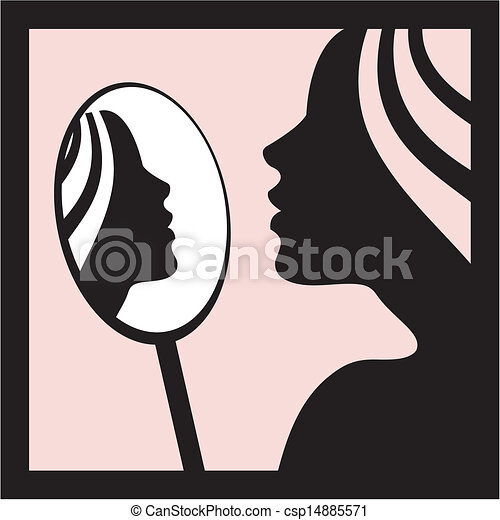 Woman With Mirror Vector Young Woman With Mirror Vector