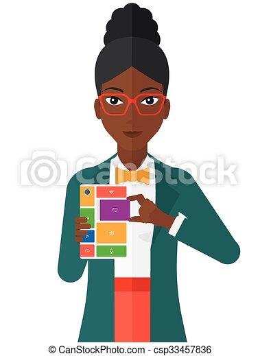 Woman with modular phone. - csp33457836