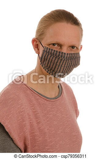 woman with mouth protection and mask - csp79356311