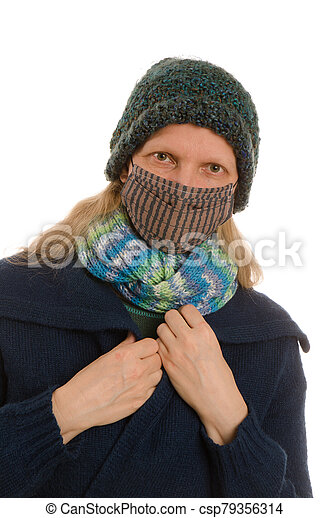 woman with mouth protection and mask - csp79356314