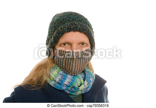 woman with mouth protection and mask - csp79356316