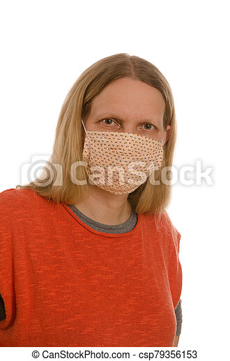 woman with mouth protection and mask - csp79356153