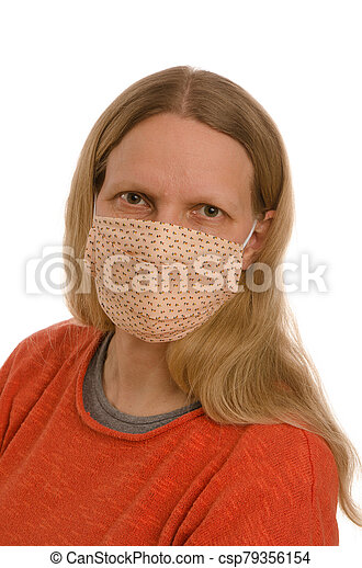 woman with mouth protection and mask - csp79356154