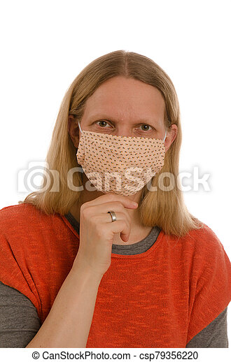 woman with mouth protection and mask - csp79356220