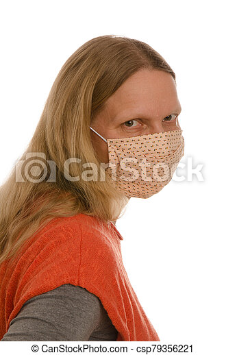 woman with mouth protection and mask - csp79356221