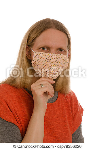 woman with mouth protection and mask - csp79356226