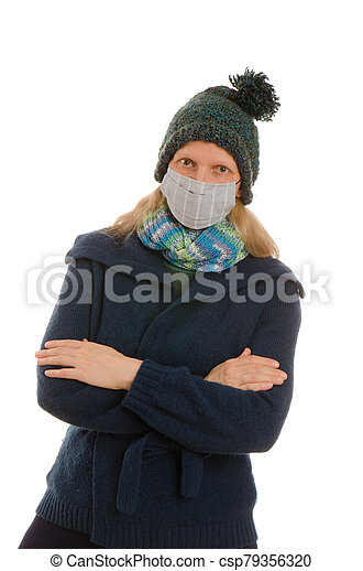 woman with mouth protection and mask - csp79356320