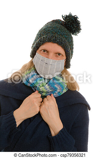 woman with mouth protection and mask - csp79356321
